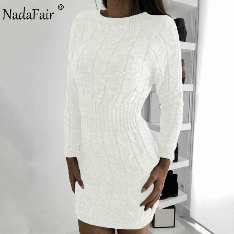 Nadafair Casual Long Sleeve Sweater Dress Winter Twist Elegant Mini Bodycon Autumn Warm Knitted Dress Women Robe Pull