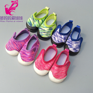 """Image 3 - Doll shoes for 43 cm new born baby Doll black white Prink Shoes For 18"""" Girls Doll shoes sneacker doll Accessories"""