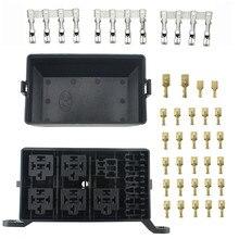 цена на 12-Slot Relay Box 6 Relays 6 ATC/ATO Fuses Holder Block + Metallic Pins For Automotive Accessories