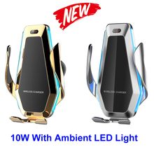Moda 10w samochodów Qi bezprzewodowa ładowarka dla iPhone XS X 8 z otoczenia Flowable LED światła uchwyt samochodowy telefon dla Samsung S9 S10 Huawei
