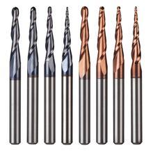5 개/몫 텅스텐 솔리드 카바이드 인치 크기 3.175mm 볼 코 테이퍼 엔드 밀 라우터 비트 CNC 테이퍼 목재 금속 밀링 커터