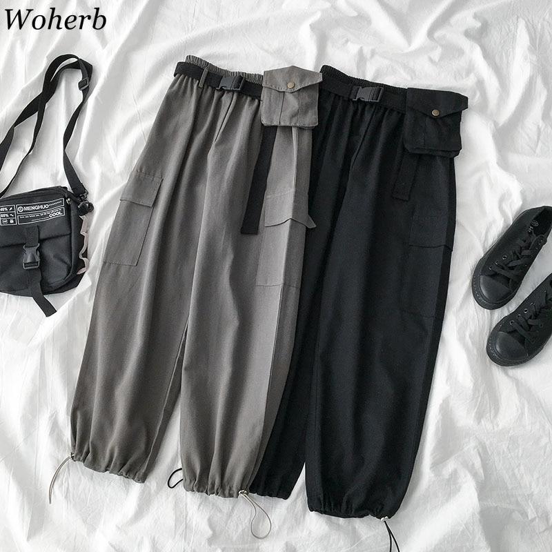 Woherb Women Trousers 2020 Korean New Harajuku Pantalon High Waist Fashion Cargo Pants Loose Casual Ladies Sweatpants 92194