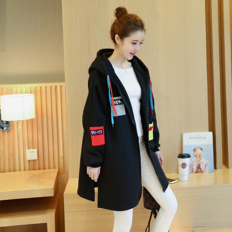 Pregnant Clothes Winter Maternity Coat Jacket Casual Long Plus Velvet Thickening Pregnant Women Hooded Top Maternity Casaco