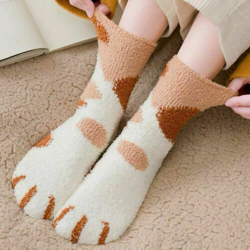 1 Pair Of Plush Coral Fleece Socks Female Tube Socks Autumn Winter Cat Claws Cute Thick Warm Sleeping Floor Sleep Socks Women
