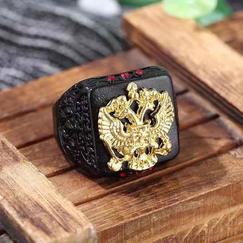 HNSP แฟชั่นรัสเซียป้าย Eagle Black Gold แหวนผู้ชายเครื่องประดับชายแหวน Anel 2019 ใหม่