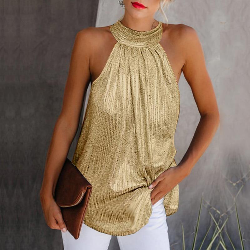 New Women High Neck Sleeveless Solid   Tank     Tops   Vest Summer Ladies Elegant Casual Loose Shining T Shirt Tees