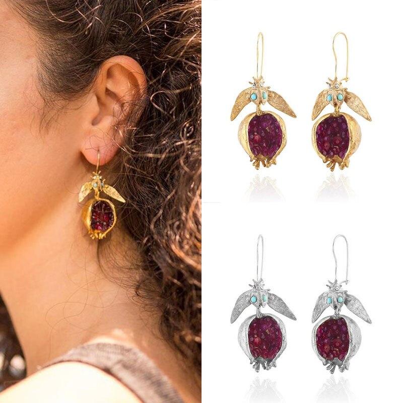 Vintage Ohrringe Baumeln Rot Granat Ohrringe Granatapfel Samen ohrringe Eardrop Persönlichkeit Drop Ohrringe Vintage Obst Schmuck