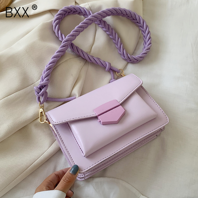 [BXX] Solid Color PU Leather Saddle Bags For Women 2020 Fashion Solid Crossbody Shoulder Messenger Bag Female Handbags HM091