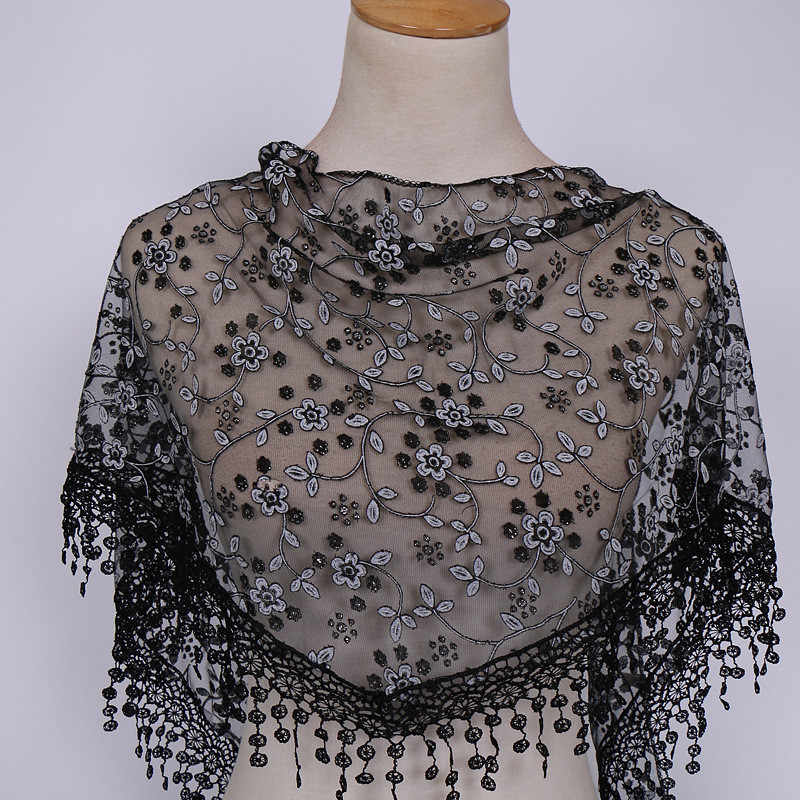 Women Lace Sheer Floral Knit Veil Scarf Hollow Out Crochet Shawl Wraps Tassels Scarves Party Evening Neckerchief #Zer