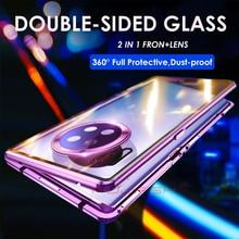 Metal için manyetik adsorpsiyon durumda Huawei P40 P30 Pro Lite çift taraflı temperli cam Huawei P40 Mate 30 20 pro mıknatıs durumda