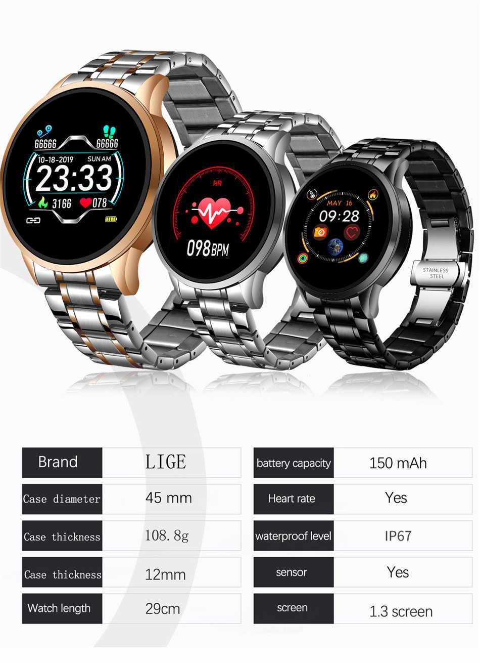 LIGE 2020 جديد ساعة ذكية الرجال النساء ساعة رياضية شاشة LED مقاوم للماء جهاز تعقب للياقة البدنية ل أندرويد ios عداد الخطى ساعة ذكية