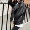 Sungtin Faux Leder Jacke Frauen Casual PU Lose Motorrad Jacken Weibliche Streetwear Übergroßen Mantel Koreanische Chic Neue Frühling