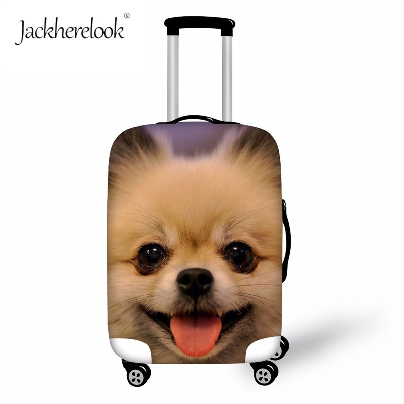 Jackherelook Lovely Pomeranian Buggage Protect Cover Cute German Dog Print Luaggage Bag Fashion Animal Design Suitcase Bags Case
