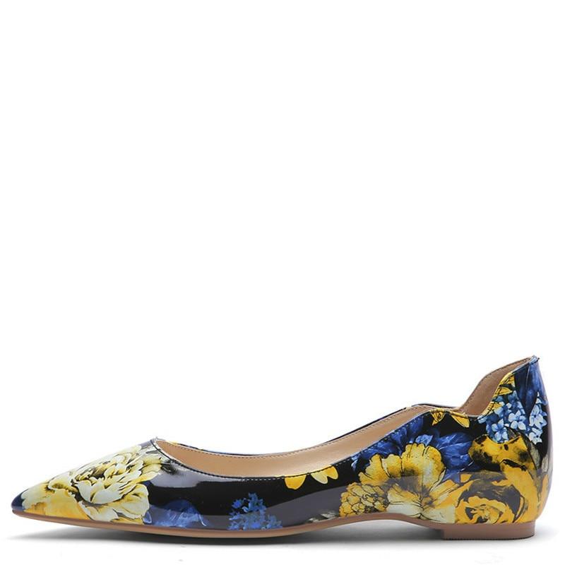YECHNE Stripe Women's Platform Shoes Woman Pointed Toe Flats Flower Fashion Spring Autumn Platform Ballet Shoes Plus Size