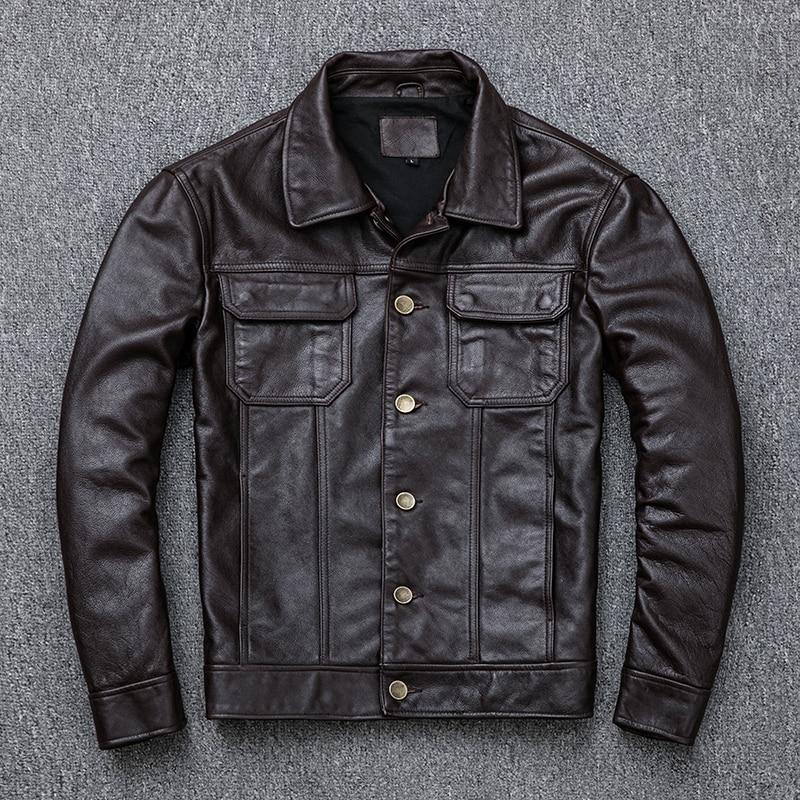 Real Leather Jacket Men 100% Cow Leather Coat Short Vintage Men's Genuine Leather Jackets Motorcycle 2020 KJ2908