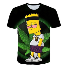 3d Simpson Weed Printed Children T-shirt Short Sleeve Sweatshirt Clothing Tops Boys Girl Maple leaf Natural Scenery T shirt