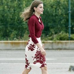 Königin Letizia Burgund Langarm Temperament Hemd Sexy Druck Blumen Split Rock Frauen Schlank Temperament Zwei Stück Set