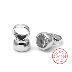 Image 2 - 4 Stks/partij 10*7Mm 925 Sterling Zilver End Caps Diy Fijne Sieraden Accessoires Bevindingen Voor Parel Ketting Armband maken SC CZ085