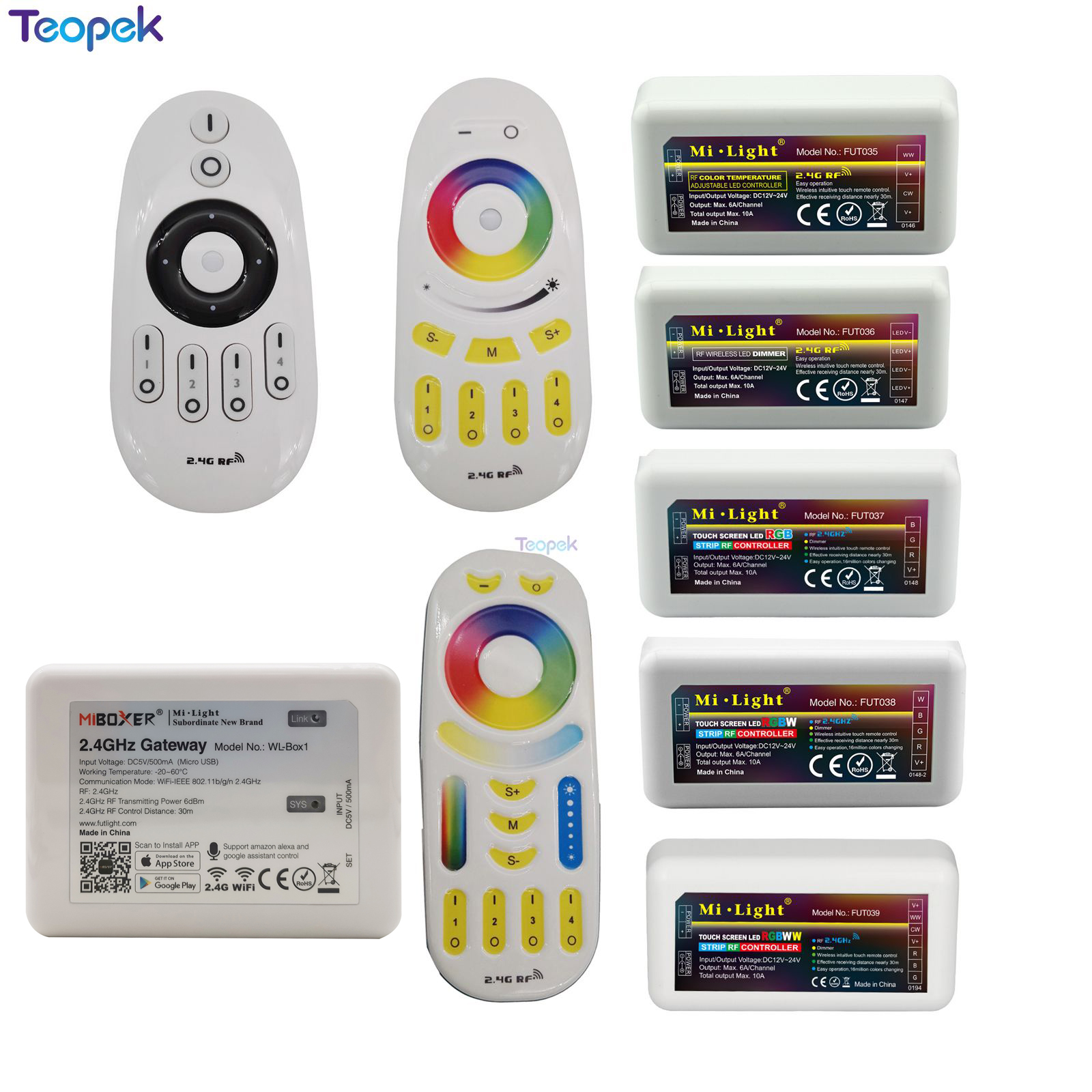 Mi. ไร้สาย Controller 2.4G RF/WIFI APP ควบคุมสำหรับเดี่ยวสี/RGBW/RGB/ ไฟ LED แถบสีขาว