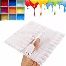 Горячая 25 сетки большой художественный поднос краски художника масляные акварельные пластиковые палитры белый