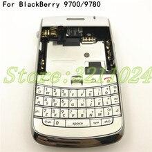 最高品質のオリジナルブラックベリーボールド 9700 9780 ハウジング背面電池カバーケース + 英語キーパッド + サイドボタン + ロゴ