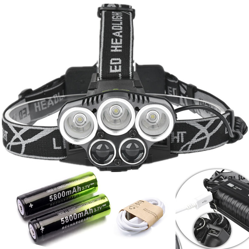 LED Headlamp 50000LM 5 LED Light Ultra Bright Headlight USB Rechargeable 4 Modes Flashlight Waterproof Fishing Hunting