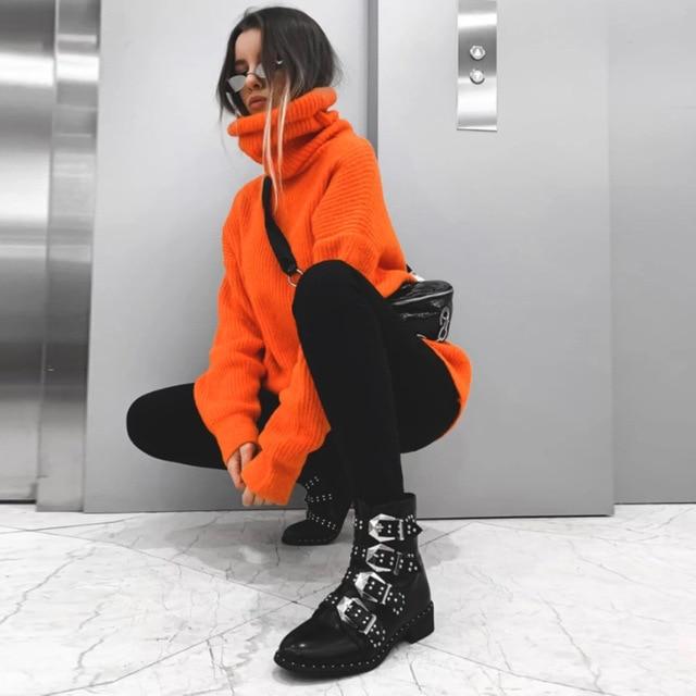 Fashion Turtleneck Oversized Sweater Winter Clothes Women Neon Green Pink Orange Pullover Ladies Knit Tops 6