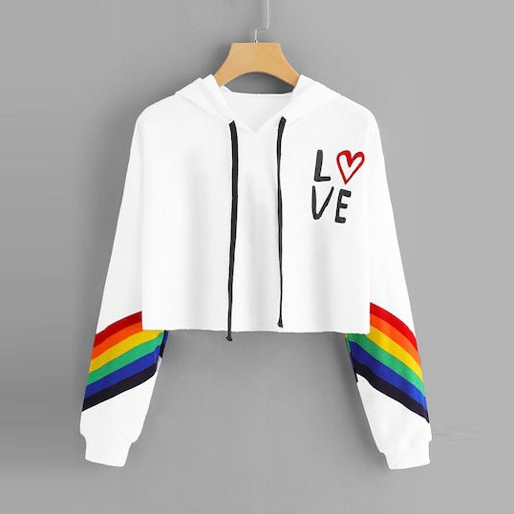 MIARHB Fashion Female Long Sleeve Hoodie Pullover Sweatshirt Rainbow Letter Print Women's Sweatshirt Tops Ladies Mujer Clothes