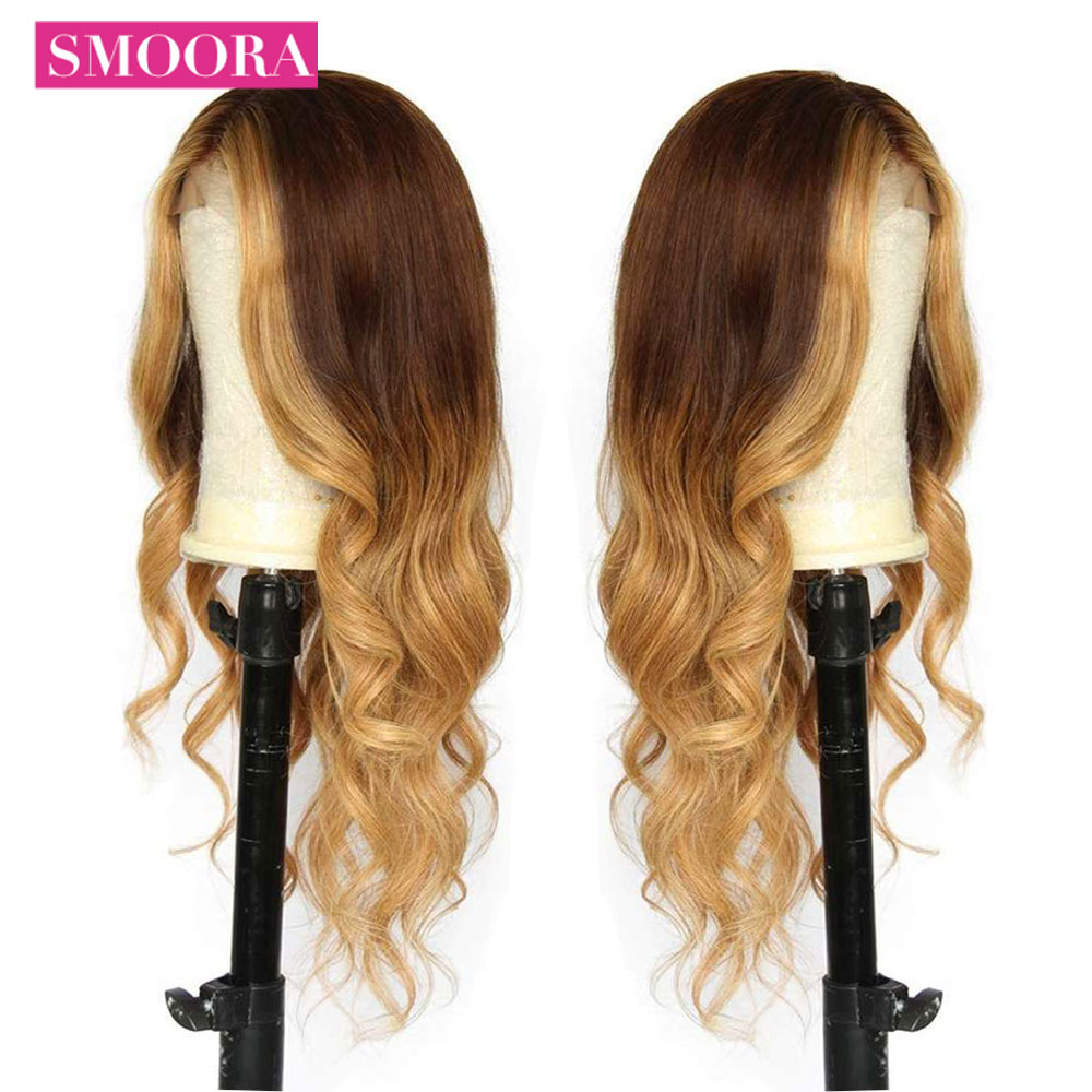 Ombre #4/27 13X4 Body Wave Lace Front Human Hair Wigs For Women Pre Plucked With BabyHair Pre Colored Lace Wig Peruvian Non Remy