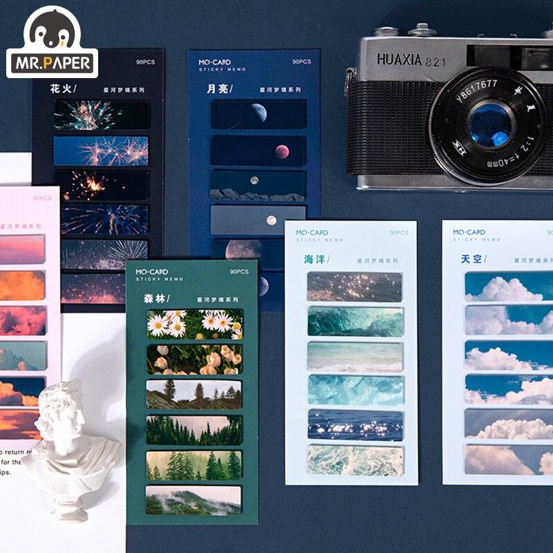 Mr.Paper 90pcs 6 Designs Galaxy Dream Ins Mini Square Memo Pad Sticky Notes Notepad Diary Creative Self-Stick Stationery Deco