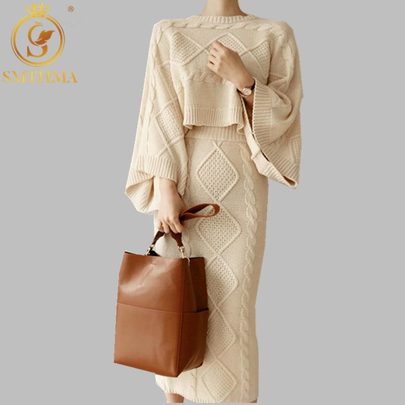 SMTHMA 2019 High Quality Luxury Runway Women Flare Sleeve Loose Knitting Sweater+Slim Split Two-piece Long Skirt Suit