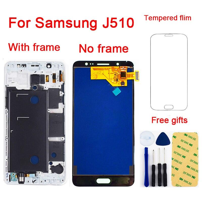Para Samsung Galaxy J5 2016 J510 J510F J510FN J510M J510Y Visor Do Painel de LCD Conjunto do Sensor de Toque Digitador Da Tela Com Moldura