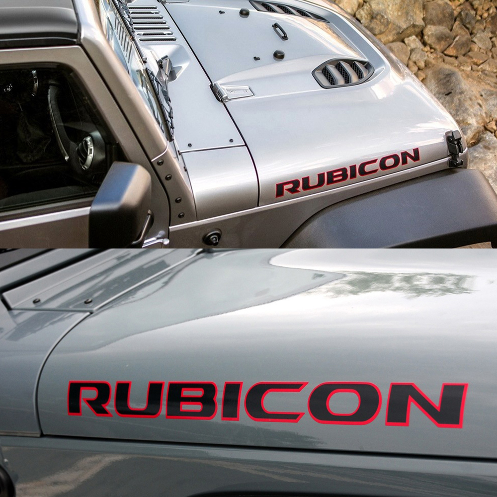2PCS Car Hood Graphics Vinyl Decor Stickers Decals For For Jeep Rubicon Wrangler JK TJ Auto Body Trim Captivation Accessories