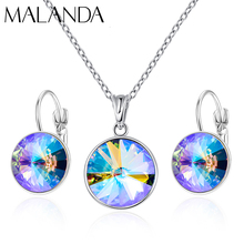Crystals From Swarovski Drop Earrings Round Necklace Drop Earrings Set Fashion Dangle Earrings Jewelry Set Party Wedding Gift cheap MALANDA Copper Women TRENDY M-1122SET Necklace Earrings necklace earrings Jewelry Sets Wedding Party Anniversary Daily Wearing Gifts