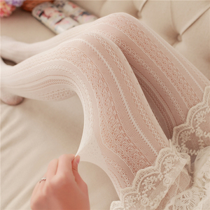 Tree&Sea Lolita Tights Hollow Striped sweet Stockings Women Female Lolita Nylon sexy Tights Japanese Pantyhose With Foot(China)