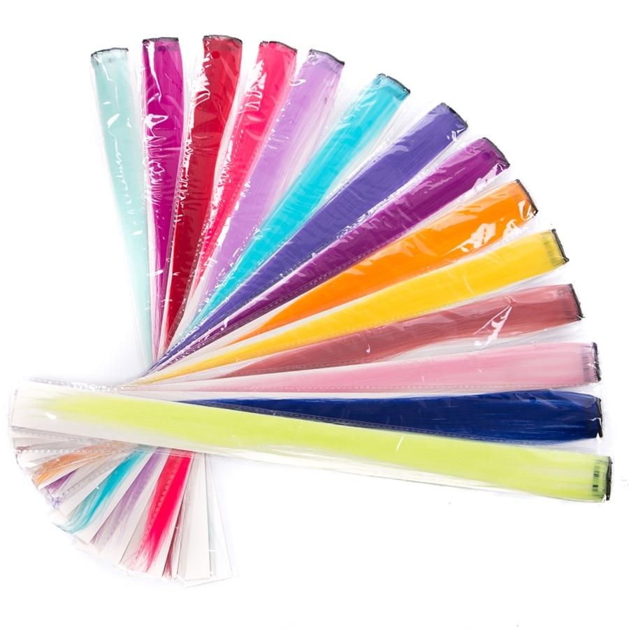 Extensiones de Cabello sintético Clip-en una sola pieza tiras de Color 20 pulgadas de largo Clip de pelo recto extensión de pelo de Color puro rizado