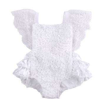 baby girl clothes newborn toddler baby girls rompers lace floral overall outfits sunsuit clothes AA Tirred Cotton Bow Cute White Rompers Infant Baby Girl Clothes Lace Floral Ruffles Baby Girl Romper Cake Sunsuit Outfits 0-18M