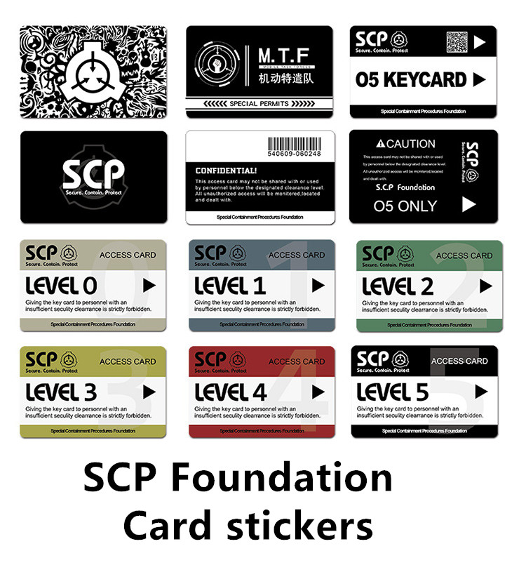 SCP Foundation Crystal Card Stickers Access Card Sticker Secret Laboratory   COS Card Cover Card Stickers
