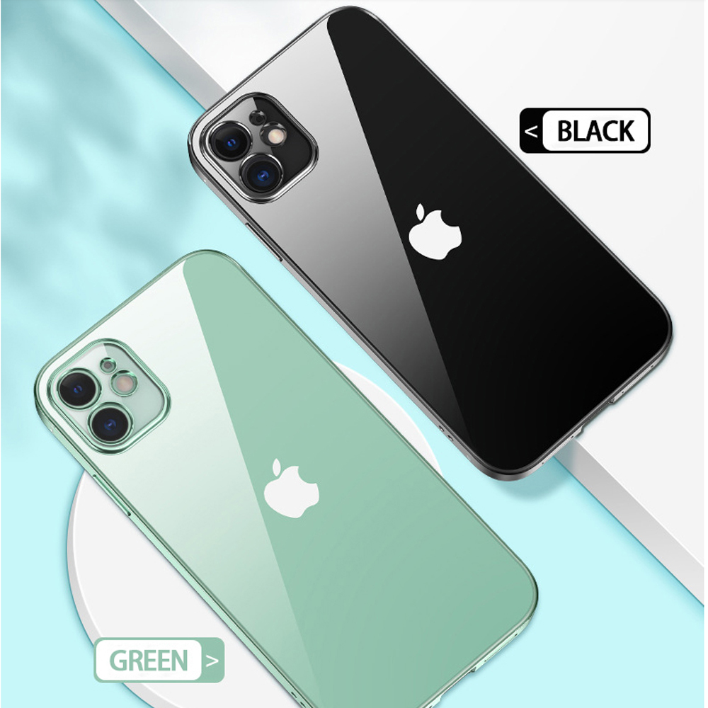 For iPhone 12 11 12 Pro X XR SE Xs 7 8 Plus 6s 11 Pro Max 12 Mini Square Frame Clear TPU Soft Case Phone Cover for iPhone 11 Pro