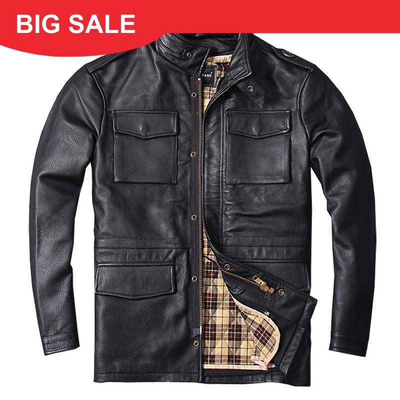 2020 Black Long M65 Genuine Leather Mens Jacket Real Thick Cowhide Plus Size 6XL Russian Winter Warm Leather Coat FREE SHIPPING