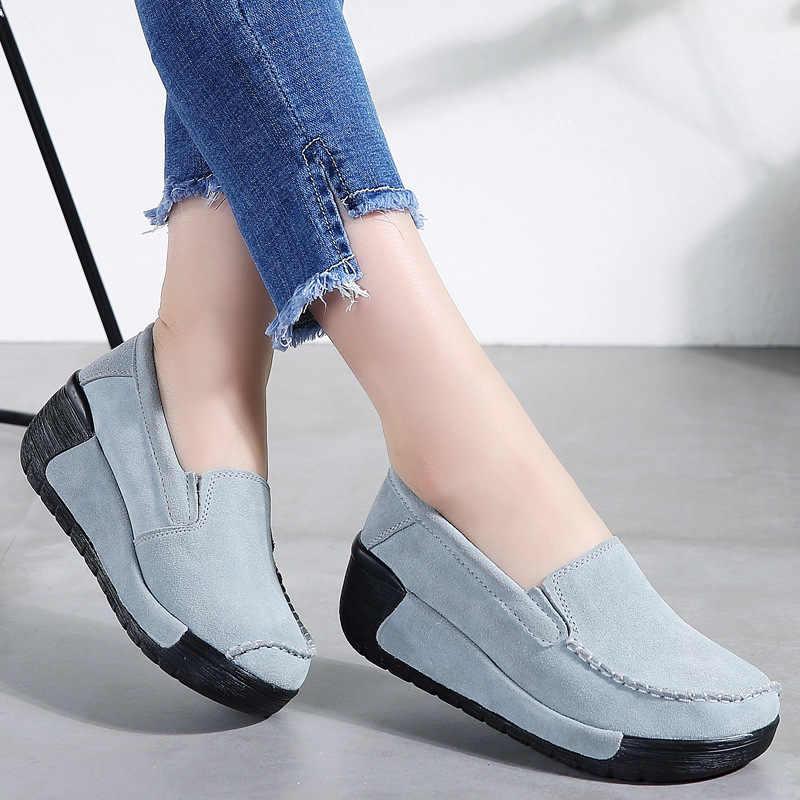Mocassins pour femmes, chaussures de loisirs épaisses pour femmes, mode à semelle plate, collection automne, printemps chaussures plates, sans lacet