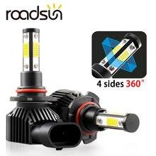 Roadsun 4 стороны огни автомобиля h8 h9 h11 светодиодный h7