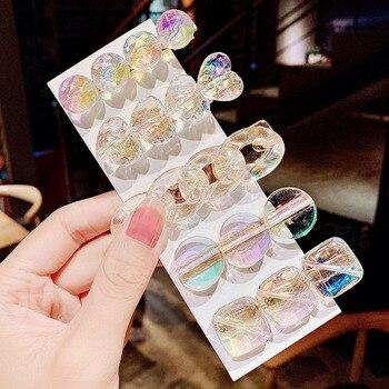 New Women Girls Cute Heart Geometric Barrettes Transparent Sweet Hair Clips Hairpins Headband Fashion Accessories - discount item  22% OFF Headwear
