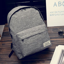 Solid Color Canvas Backpack Female Student Schoolbag Korean Version Small Fresh College Style Backpack Men's Fashion Travel Bag