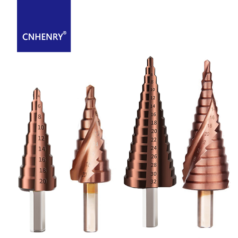 HSS M35 Cobalt Step Drill Triangle Shank Drill Bits 4-12/4-20/4-32mm For Stainless Steel 5% Cobalt Drill Bits Tool Set Hole Saw