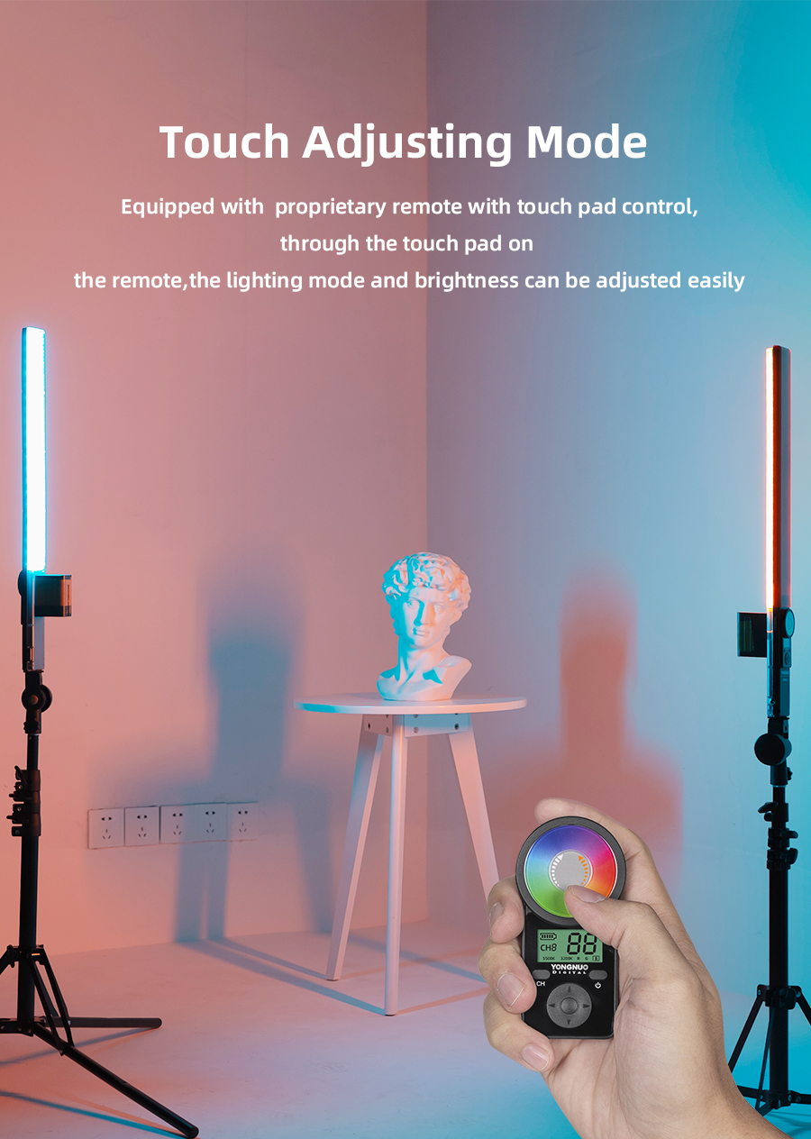 Hf0c4e6ca0de64e42a6b58d47adca2634d Yongnuo YN360 III YN360III Handheld 3200K-5500K RGB Colorful Ice Stick LED Video Light Touch Adjusting Controlled by Phone App