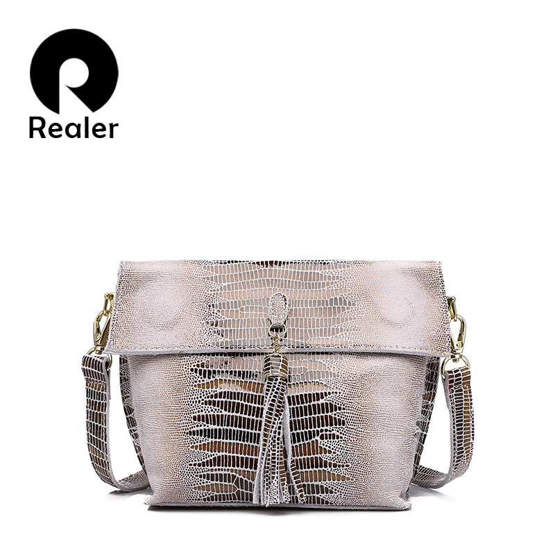 REALER Women Messenger Bags Genuine Leather Shoulder Crossbody Bag Ladies Handbags Tassel Serpentine Female Student Small Purse