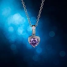 Elegant Crystal Zircon Women Love Heart Shape White Zircon Pendant Necklace Metal Chain Wedding Pendant Necklace Jewelry Gifts elegant crystal zircon pendant necklace silver white red