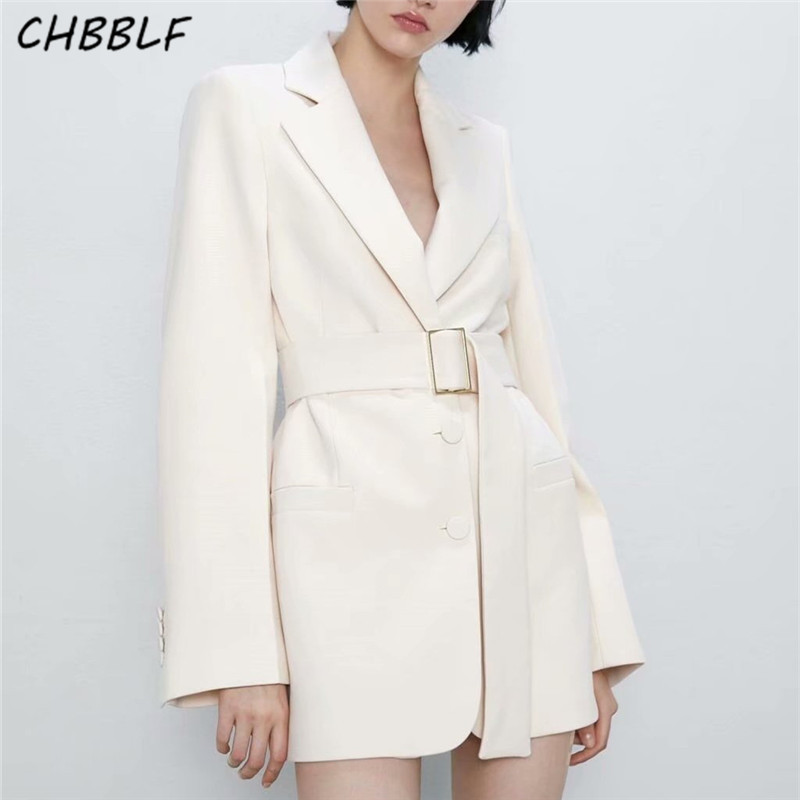 CHBBLF Women Stylish Solid Blazer Bow Tie Belt Notched Collar Pockets Long Sleeve Coat Female Office Wear Casual Tops HJH2298