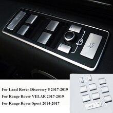 10 adet araba kapı kol dayama pencere kaldırma düğme kapağı Trim için Land Rover Discovery 5 için Range Rover VELAR 17 19 RR spor 14 17